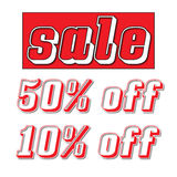Red sale sign with 50% off and 10% off. Red retail sale sign with 50% off and 10% off clip art Royalty Free Stock Photo