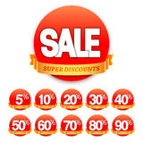 Red Sale Stickers Stock Photo