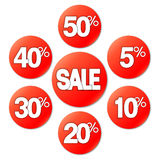 Red Sale Stickers Royalty Free Stock Image
