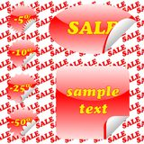 Red sale stickers and seamless pattern Stock Images