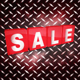 Red sale tabs over metallic diamond plaque Royalty Free Stock Photo