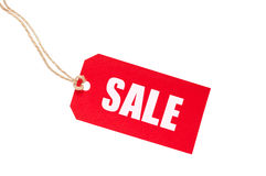 Red Sale Tag. On white Stock Images