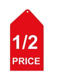 Red Sale Tag. Red retail sales tag or sign Stock Images