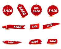 Red sale tag label. Vector design royalty free illustration