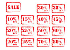 Red sale tags. Isolated red percent sale tags Stock Photo