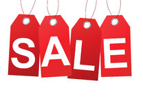 Red sale tags banner design Stock Images