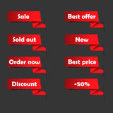Red sale tags for website Stock Photography