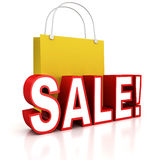 Red sale text with yellow shopping bag Royalty Free Stock Images