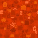 Red sale vector pattern with shopping symbols. Vintage style sale background Royalty Free Stock Photos