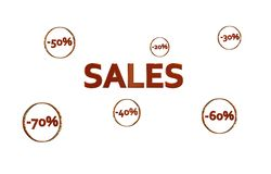 Red Sales design with discount numbers inside golden circles Royalty Free Stock Images