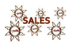 Red Sales design with discount numbers inside golden suns Royalty Free Stock Photography
