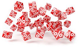 Red sales icons floating in the air 3D rendering. Red sales icons floating in the air on white background 3D rendering Stock Image