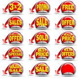 Red Sales Stickers Stock Photography