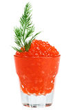 Red salmon caviar in a glass with dill twig Stock Photo