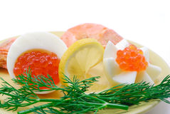 Red salmon caviar and prawns royalty free stock photo
