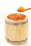 Red salmon caviar in a wooden barrel Stock Photo