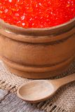 Red salmon caviar in a wooden keg macro Royalty Free Stock Photos