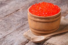 Red salmon caviar in a wooden keg Stock Photos