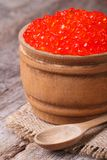 Red salmon caviar in a wooden keg vertical Royalty Free Stock Image