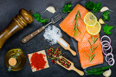 Red Salmon Fish Fillet with Cooking ingredients, Herbs and Spice Royalty Free Stock Images