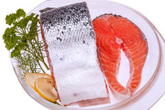 Red salmon on the plate Royalty Free Stock Image
