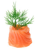 Red salmon roll with dill twig Royalty Free Stock Photo