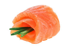 Red salmon roll with rosemary twig Royalty Free Stock Image