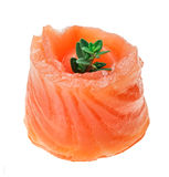 Red salmon roll with thyme twig Stock Images