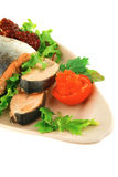 Red salmon and salad Stock Image