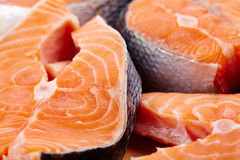Red salmon slices Stock Photography