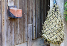 Red salt lick and fodder net. Wooden wall of a barn with red salt lick and fodder net for horses filled with hay Royalty Free Stock Photography