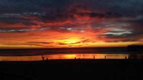 Red San Diego Sunset. Beach Sunset Red Sun San Diego Royalty Free Stock Images