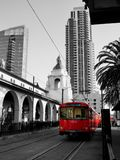 Red San Diego trolley, outside the rail station. Royalty Free Stock Images