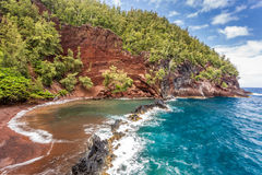 Red Sand Beach Maui Stock Photo