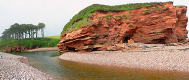 Red sand cliffs at jurassic coast, south england Royalty Free Stock Image