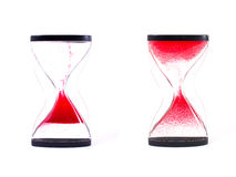 Red sand clock isolated on white background. Stock Images