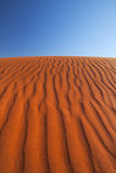 Red sand dune on a clear day, Northern Territory, Australia. Detail of ripples in a red sand dune on a clear day. Photographed in the Northern Territory in Royalty Free Stock Photography