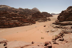 Red sand dune and desert landscape, Wadi Rum, Jordan royalty free stock images