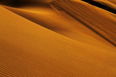 Red sand dunes, shapes and shadows at the sunset in Singing Dunes in Kazakhstan. royalty free stock photo