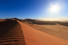 Red sand dunes at sunrise stock images