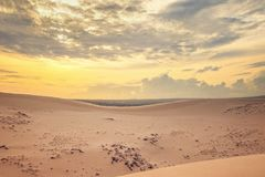 Red sand dunes in sunset royalty free stock images