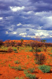 Red sand, before rain. And cloudy sky, Australia Royalty Free Stock Image