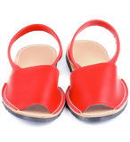 Red Sandals Avarcas. Red Leather Female Sandals Avarcas isolated on white background Stock Photography