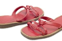 Red sandals close up Stock Image