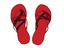 Red Sandals Illustrated. Bright red sandals illustrated in summer vector illustration