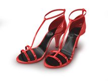 Red sandals isolated on white Royalty Free Stock Images