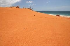 Red sandbank. Blue clear sky over the red sandbank on a beach. Australian Stock Photography