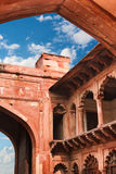 Red sandstone arches of the inner courtyard of Agra Red Fort Royalty Free Stock Images