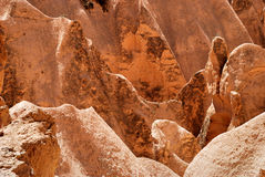 Red sandstone background. Red sandstone of cappadocia near Goreme, Turkey. Good for background royalty free stock photography