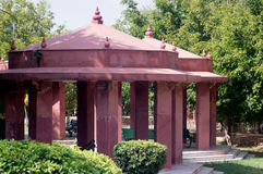Red sandstone canopies Jaipur India. Red sandstone canopies in a park in Jaipur India. Jaipur is known as the pinkcity since most of the buildings there are made Royalty Free Stock Images